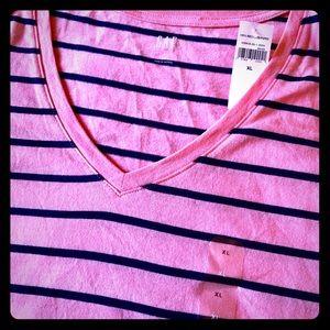 New Pink Gap Striped Tee